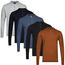 NEXT™ Mens Long Sleeve Knitted Polo Shirt New 3 Button Cotton Rich Jumper Top