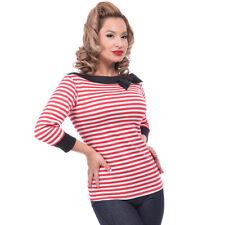Steady Clothing Rockabilly Vintage Bluse Shirt Striped Boatneck Schleife Rot