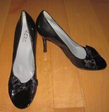 New BCBG Paris Wm Black Patent-Leather Look Open Peep Toe Heels 8 Eur 38