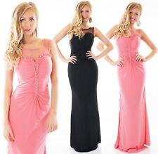 Abend Maxi Kleid Ball Cocktail bodenlang Brautjungfern Perlen schwarz rosa