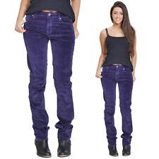 New Ladies Womens Slim Skinny Stretch Cords Purple Corduroy Trousers Jeans Pants