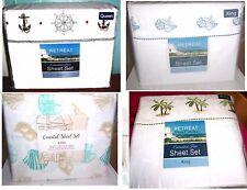 Nautical Sheet Sets: Palm Trees, Seashells, Ships Wheel & Anchor, etc.