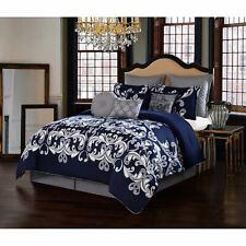 NEW Queen King Bed Navy Blue Silver Gray Grey Damask 10 pc Comforter Set Elegant
