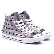 Converse All Star Scarpe Sneaker Donna Laminato Argento Silver con Borchie