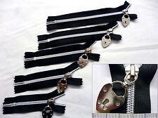 "Zip,Zipper,Medium Weight 5,Closed End,Silver Nylon,Black 3,4,5,6,7"" Padlock Pull"