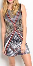 Black Red Retro Leopard Paisley Sleeveless Mesh Net Back Tank Mini Dress S M L