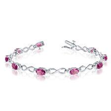 10K White Gold Oval Pink Topaz and Diamond Bracelet
