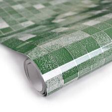 Green Mosaic Contact Paper PVC Foil Wall Sticker Bathroom Kitchen Tile Wallpaper