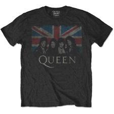 Official Queen T Shirt Union Jack Black Classic Rock Band Tee Freddie Mercury