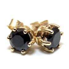 Diamante negro-único 1 CT & 2 ct oro sólido solitario 9 CT Stud Pendientes 6 Claw