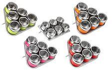 Set di 6 MAGNETICO Spice Erbe Conservazione Barattoli in acciaio inox include VASSOIO titolare