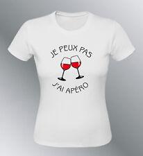 Tee shirt personnalise JE PEUX PAS j'ai apéro humour femme apero
