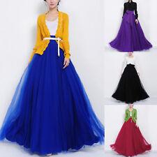 Womens High Waist Multi Layer Tulle Mesh Skirt Full Length Party Long Maxi Dress