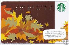 2011 Starbucks Card - Autumn Leaves, Starbucks in Braille - Never Swiped, Loaded