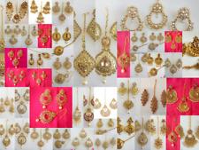 Indian Maang Tikka Earrings Set Gold Tone Kundan Party wear Bollywood Wedding