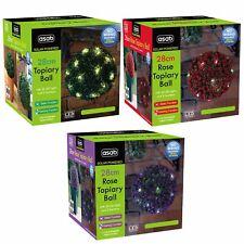 28cm Solar Powered Bright LED Rose Topiary Ball Hanging Ornament Garden Light