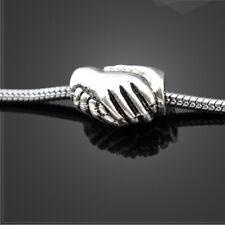 Handshake Partners Friendship Silver Charm fits European Bracelets + Gift Bag
