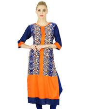 Bimba Women Orange Rayon Kurti Kurta Straight 3/4 Sleeve Top Ethnic Blouse