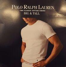 2 POLO RALPH LAUREN MENS 2XL TO 6XL COTTON WHITE BLACK CREW T-SHIRTS UNDERSHIRTS