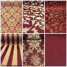"Burgundy/Gold Damask Jacquard Brocade Fabric 118"" By the Yard Many Design"