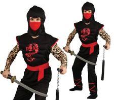 Kids Ninja Warrior Muscle Costume Martial Arts Boys Fancy Dress Outfit