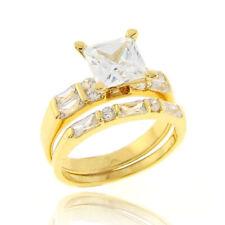 14k Gold EP Silver Women's Wedding Band Princess CZ Bridal Engagement Ring Set