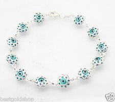 3D Ocean Blue Filigree Evil Eye Greek Mati Bracelet Real 925 Sterling Silver