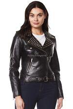 Ladies DOMINO Real Leather Jacket Black Rockstar Women Studded Biker Style 4326