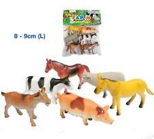 6 Pcs Plastic Animals FARM Cow Pig Horse Sheep Goat Figurines Pretend Kids Toys
