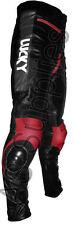 """lucky strike"" neuf noir/rouge en cuir moto pantalon pantalon-toutes tailles!"
