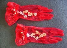 Chicas Encaje Rojo Guantes Boda Bautizo Fiesta De Navidad Accesorio De Vestir