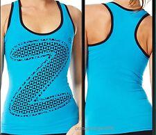 ZUMBA® Fitness Zumbawear™ Mirror Me~Z LOVE~RACERBACK TOP TANK n Bangin' Blue S M