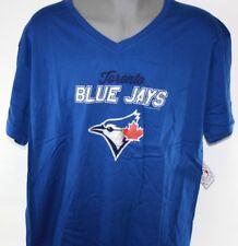 NEW Womens MAJESTIC Toronto Blue Jays V Neck Logo Style Baseball MLB Shirt
