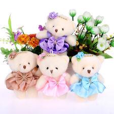 10pcs Teddy Bear 12cm Plush Toys Mini Doll Flower Bouquet Wedding Souvenir Decor