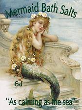 Mermaid Bath Salts - Vintage Metal Wall Sign (3 sizes - Small / Large and Jumbo)