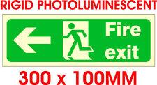 Segnale di uscita a fotoluminescenza fuoco a sinistra. 30x10cm. IVA Inc!