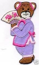 Purple Teddy Bear Chinese Fan Embroidery Patch