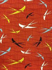 Cotton Fabric Fat Quarter Stof Swallows on Sage green or Terracotta retro