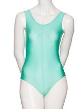 pour filles et femmes menthe vert danse classique Ballet gym sans manche Lycra