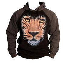 Men's Huge Leopard Face Black/Charcoal Raglan Hoodie Wild Animal Beast Sweater