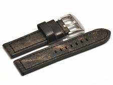 Uhrenarmband extra starkes massives Vintage Leder schwarz 20mm 22mm 24mm