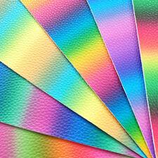 Arco iris de Cuero PU Tela fieltro con respaldo A4 o A5 Hojas Brillo Brillante Cabello Arcos