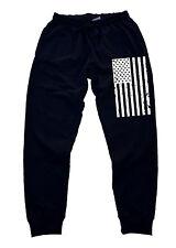 Men's B/W US Flag Jogger Training Gym Workout pants dance america beast hip pop