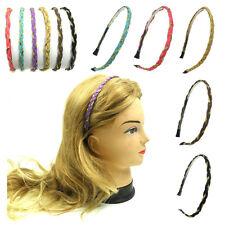 Fashion Women Girls Faux Leather Braided Gold Chain Headband Hairband