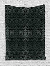 Dark Grey Tapestry Black Damask Floral Print Wall Hanging Decor