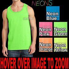 Mens Solid Tank Top Preshrunk Cotton Blend NEONS  S M L XL 2XL 3XL 4XL NEW!