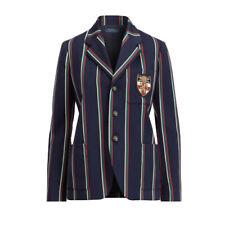 Women's Ralph Lauren Polo Navy Wool Embroidered Crest Blazer Jacket New $498