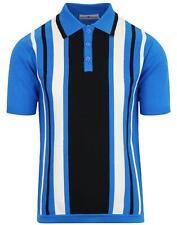 Nuevo Mod para hombre 60 70s Retro De Rayas Camisa Polo Tejido Inglaterra Madcap Azul MC421