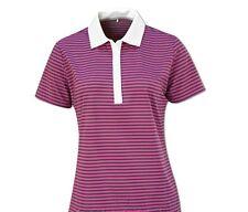 Nike Golf Stretch Stripe Polo Golf Shirt Womens XS S M Purple White 541949 636