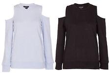 Womens Sweatshirt Cut Out Cold Shoulder Top Full Sleeve Ladies Shirt Tee
